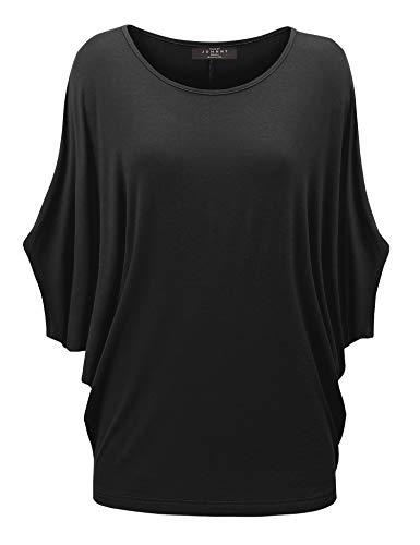 MBJ WT1073 Womens Scoop Neck Half Sleeve Batwing Dolman Top XL Black ()