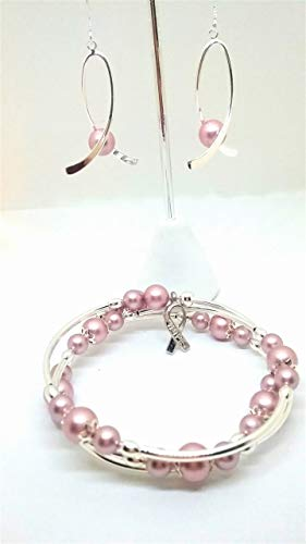 Breast cancer awareness jewelry set Earrings and bracelet with Swarovski pearls.