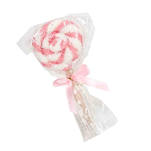 Lote de 15 Divertidas Toallas con Forma de Piruleta Rosas y Blancas. Higiene y Belleza. Recuerdos y Complementos. Regalos Originales.