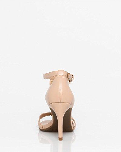 LE CHÂTEAU Women's Faux Leather T-Strap Sandal,38,Nude by LE CHÂTEAU (Image #2)