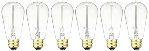 6pcs Edison Bulbs, KinHom 60 Watt Dimmable Vintage Incandescent Light Bulb - E26 Base - Clear Glass - Tear Drop Top - Classic Squirrel Cage Filament Lamp - - 3 New Pendant England Light