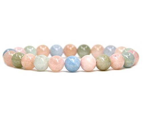 (Natural Morganite Beryl Aquamarine Gemstone 8mm Ball Beads Stretch Bracelet 7