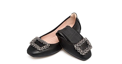 Cloudless Toe Flats Dress Women's Ballet Black Fashion Comfort Square Round On Slip Flats rrIwZ