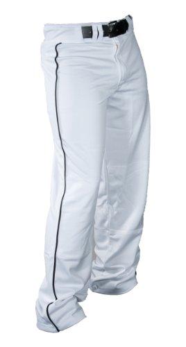 Louisville Slugger Boy's Slugger All-American Relax-Fit Open Bottom Pant, White/Black Piping, - Baggy Pants Baseball