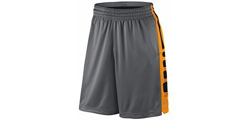 NIKE Men's Elite Stripe Basketball Shorts Grey/Vivid Orange/Black/Metallic Silver Size X-Large