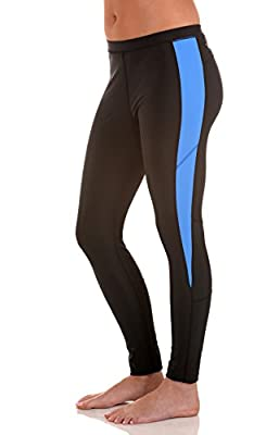 Women Stretch Tights Leggings Swim Gym UV Protective UPF50+ Black Blue
