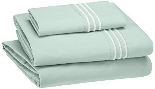AmazonBasics Embroidered Hotel Stitch Sheet Set - Premium, Soft, Easy-Wash Microfiber - Twin-XL, Seafoam Green
