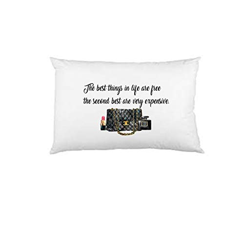 - Designer inspired Pillow Case, The best things in life are free the second are very expensive pillowcase, designer inspired pillowcase, Custom Printed, Unisex Pillowcase, Adult Bedroom, Teen Room
