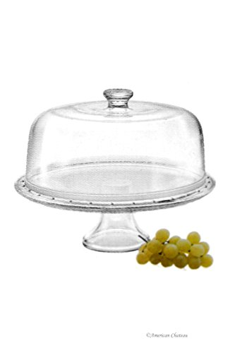 Borgonovo 2-In-1 Italian Glass Domed Pedestal Cake Plate Stand & Fruit Bowl