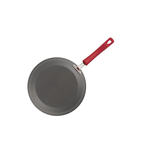 Rachael Ray Brights Hard-Anodized Nonstick Cookware Set with Glass Lids, 10-Piece Pot and Pan Set, Gray with Red Handles 3