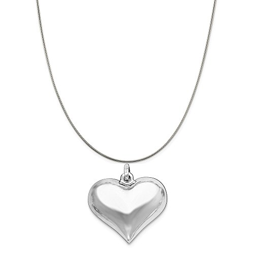 Sterling Silver Rhodium-Plated Puffed Heart Pendant on a Sterling Silver Snake Chain Necklace, 20