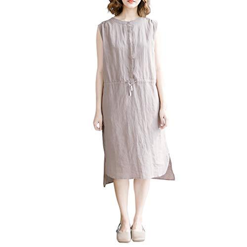 Women Korean Dress Casual Cotton Color Linen Solid Collar Sleeveless Top Vest T-Shirt Loose Tops Blouse (Coffee, ()