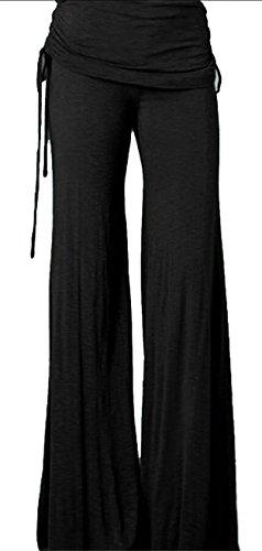 Ruched Wide Leg Gaucho (ouxiuli Women Wide Leg Drawstring Ruched Yoga Workout Palazzo Pants Black S)