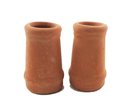 Melody Jane Dollhouse Round Chimney Pots Terracotta Small 1:12 Scale