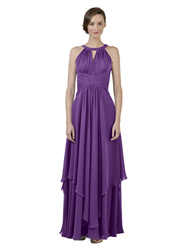 (Alicepub Jewel Chiffon Bridesmaid Dress Long A-Line Party Prom Gown Evening Dress, Purple, US26)