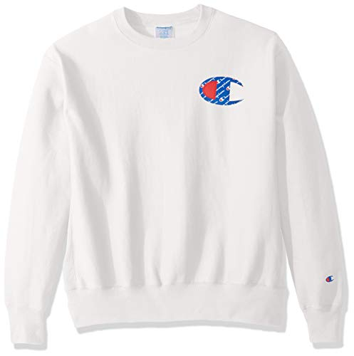 Champion LIFE Men's Reverse Weave Sweatshirt, White/Sublimated c Logo, X-Large