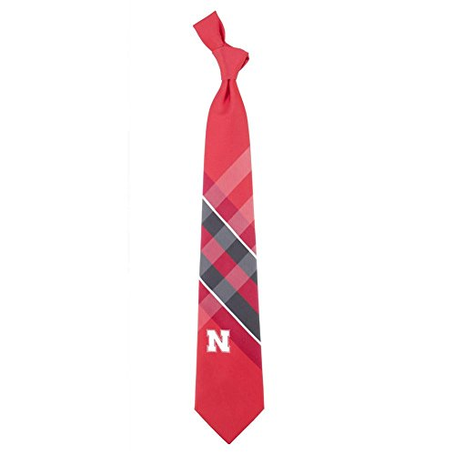 Nebraska Huskers Grid Neck Tie with NCAA College Sports Team Logo