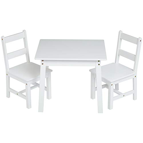 (AmazonBasics Kids Solid Wood Table and 2 Chair Set, White)