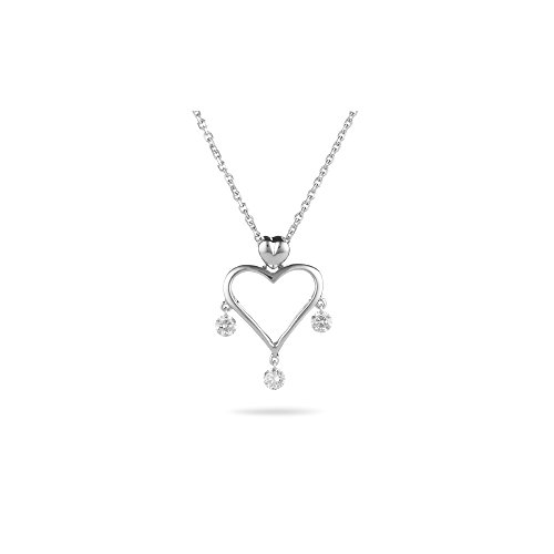 - 0.20-0.25 Cts SI2 - I1 clarity and I-J color Diamond Open Heart Dangling Pendant in 18K White Gold