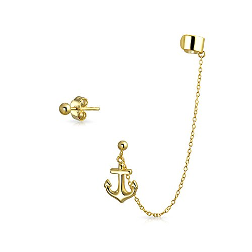 Bling Jewelry Gold Plated 925 Silver Anchor Linked Earrings Ear Cuff Set