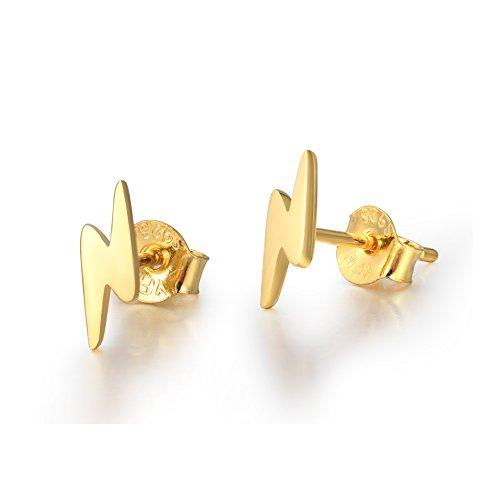 18K Gold Plated Sterling Silver Lightning Bolt Stud Earrings - Bolt Gold