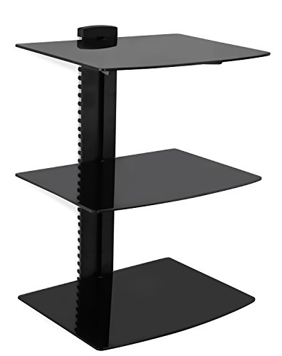 Mount-It! Wall Mounted Floating Shelf Bracket Stand for AV Receiver, Component, Cable Box, Playstation4, Xbox1, VCR Player, Blue Ray DVD Player, Projector, Three Shelves, Tempered Glass (Dvr Stand)
