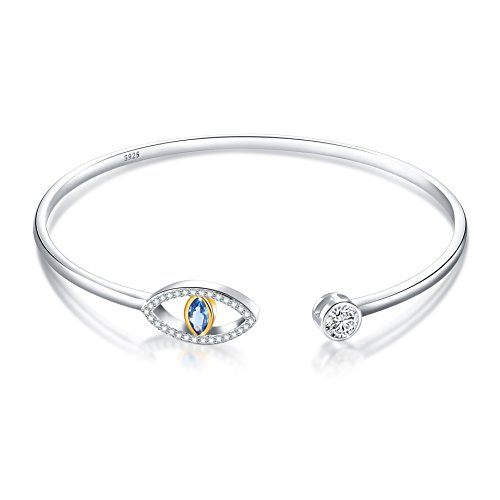 SILVER MOUNTAIN 925 Sterling Silver Pave Evil Eye Double End Cuff Bangle Bracelet for Women by SILVER MOUNTAIN (Image #6)