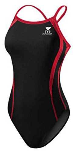 TYR Alliance Splice Diamondback Swimsuit, Black/Red, 20