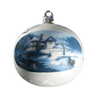 (Thomas Kinkade Painter of Light Glass Ball Ornament Moonlit Sleigh Ride 2004)