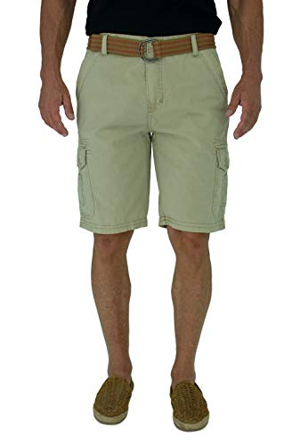 Short Fin Cargo Shorts with A Belt (Stone, Size 40 8012)