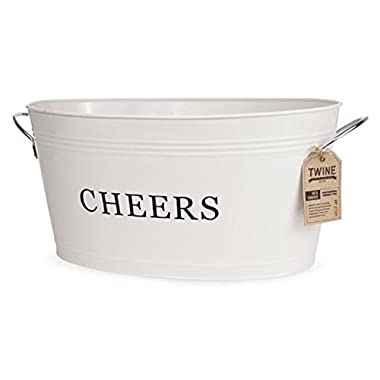 Twine Rustic Farmhouse: Galvanized Cheers Tub, Cream, 6.3 gallons