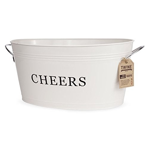 Twine Rustic Farmhouse: Galvanized Cheers Tub, Cream, 6.3 gallons - Galvanized Drink