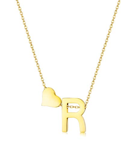 Hanpabum Gold Tone Initial Alphabet Heart Pendant Necklace A-Z Letter Pendant Choker Jewelry Gift for Her (R) ()
