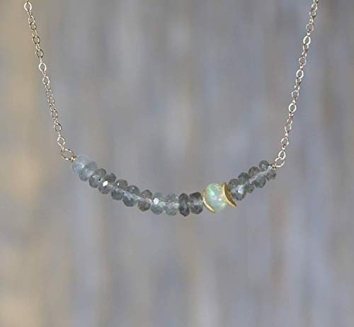 Moss Aquamarine Necklace - Genuine Moss Aquamarine Gemstone Bar Necklace Opal March Birthstone 17 Inch Length