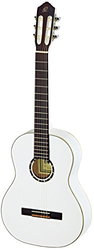 Ortega Guitars R121LWH Family Series Left Handed Nylon 6-String Guitar with Spruce Top, Mahogany Body, White Gloss