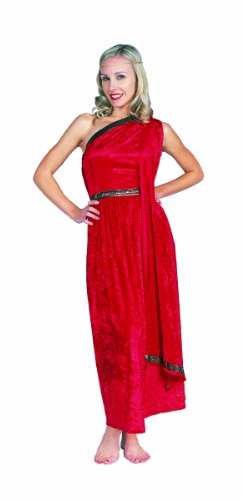 RG Costumes Women's RG Roman Toga Adult Red Long Costume, One Size ()