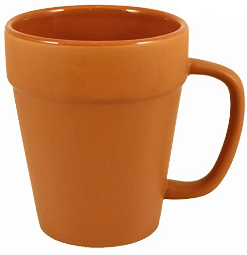 (Terra Cotta Ceramic Coffee Pot Mugs with Pan Scraper (2-Pack, 14 Ounce))