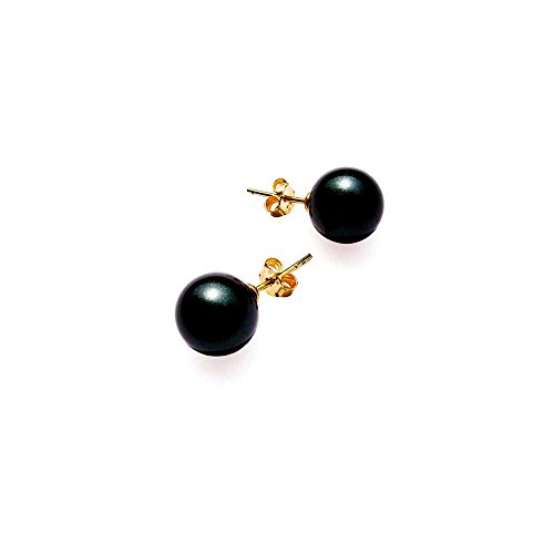 Blue Pearls - Black AAAA Freshwater Pearl Earrings and 14K yellow Gold plated - BPS 1048 O Noir- Blue Pearls - BPS 1048 O Noir