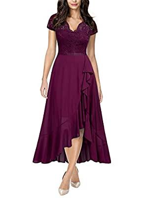 Miusol Women's Formal Floral Lace Ruffle Cocktail Party Dress