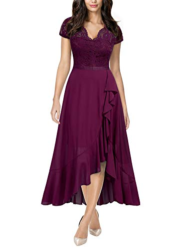Miusol Women's Formal Floral Lace Ruffle Cocktail Party Dress,Medium,A-Magenta
