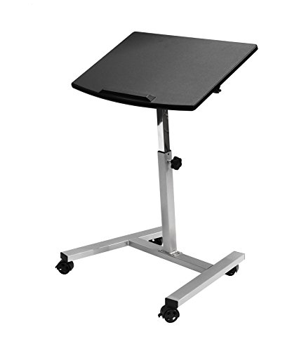 - Seville Classics Tilting Mobile Laptop Computer Desk Cart with Stopper Ledge, Height-Adjustable from 23.6 to 36.4