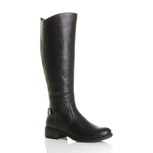 WOMENS LADIES SLIM CALF MID HEEL ZIP STRETCH GUSSET RIDING BOOTS SIZE 6 39
