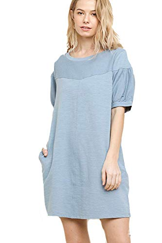 - Umgee Beloved Boho! French Terry Dress or Beach Cover (Medium, Misty Blue)