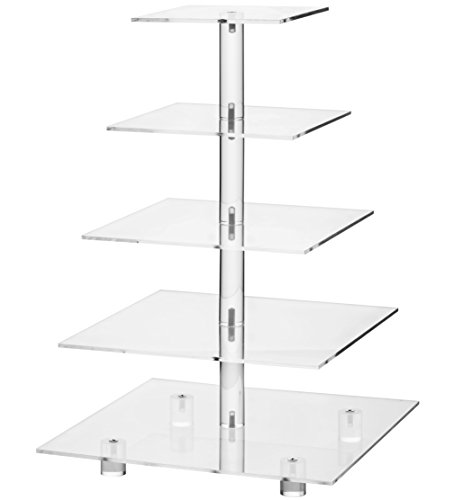 YestBuy 5 Tier Square Wedding Party Acrylic Cake Cupcake Tree Tower Maypole Display Stand 1 pc/Pack (Normal 5 Tier Square with Base) -