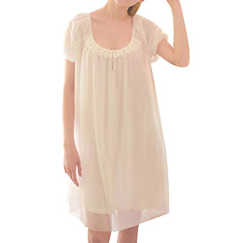Women's Summer Vintage Short Sleeve Nightgown Victorian Sheer Mesh Sleepdress Sexy Scoop Neck Lounge Sleepwear Princess Sleep Dress with Lace Trim White