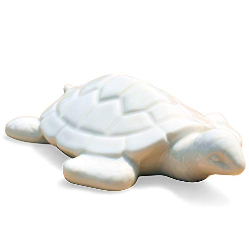 (WHW Whole House Worlds Key West Baby Sea Turtle Statue, White, Glazed Porcelain, 5 1/2 L x 4 1/4 W x 1 1/2 H inches, Table Top Art, Tropical Island Style)