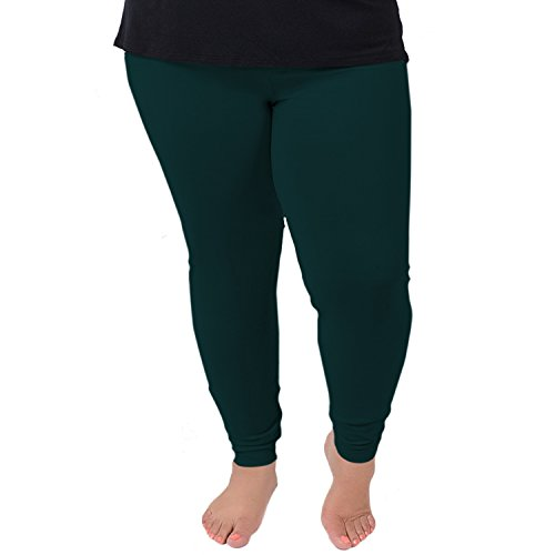Stretch is Comfort Women's Cotton Plus Size Leggings Hunter Green 2XL