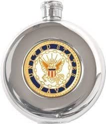 US Navy Round Stainless Steel Flask - 5 oz.