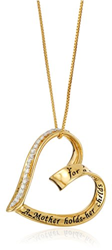 "Gold-Flashed Sterling Silver Diamond ""A Mother Holds Her Child's Hand"" Heart Pendant (1/10 cttw, I-J Color, I2-I3 Clarity), 18"""