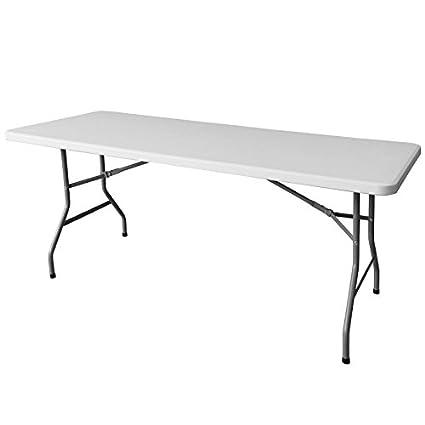 Table de Jardin Pliante 200cm Plastique Blanc - L 200 x l 90 ...